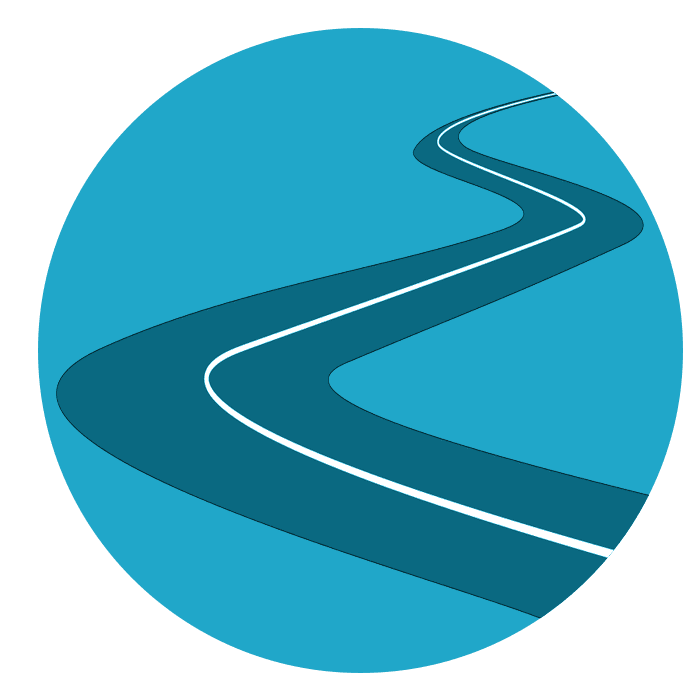vector of a road in a blue circle