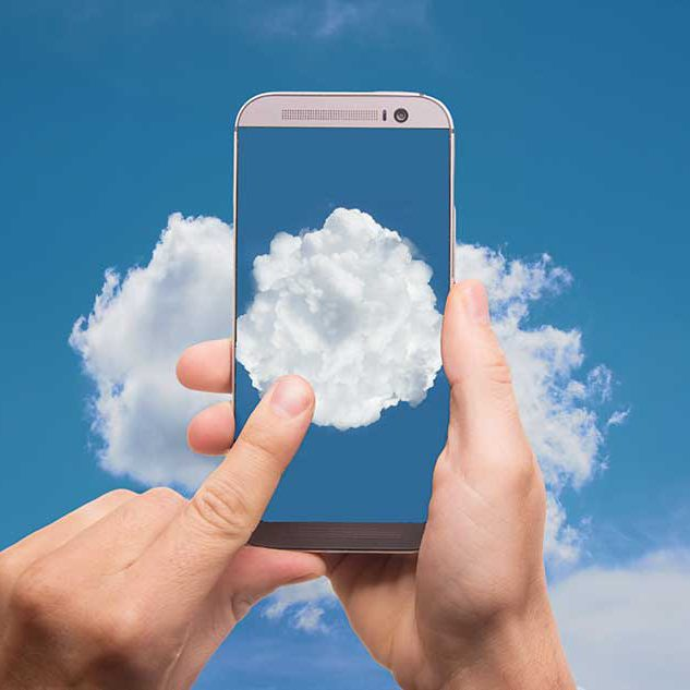 image of a finger pressing the screen of a mobile phone with a cloud image on it