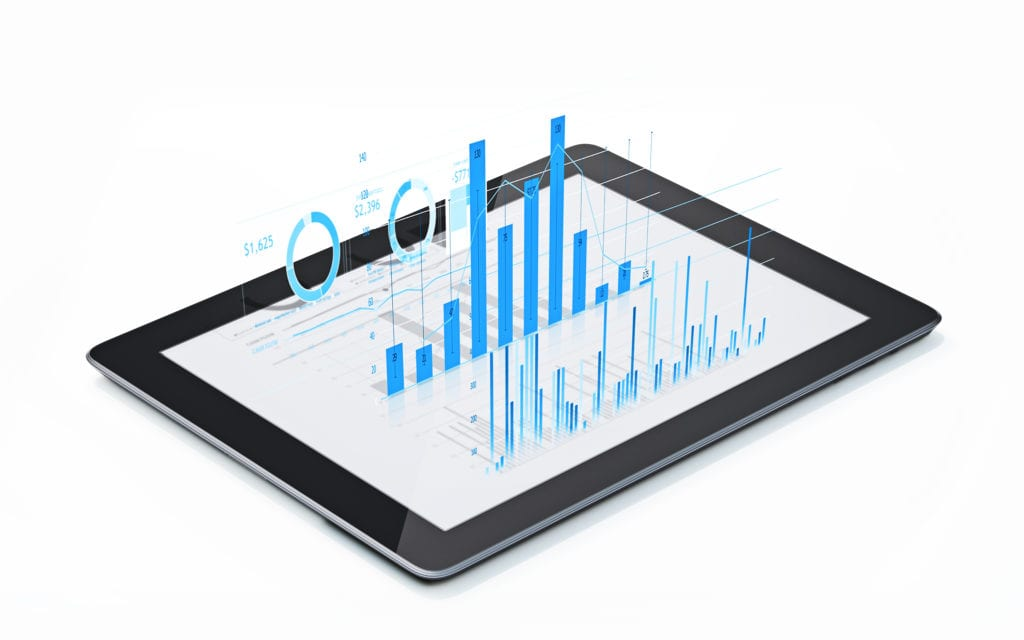 Business performance graphs and data